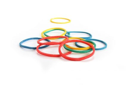 colorful rubber band used for magic tricks.