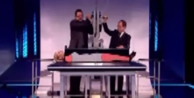 penn teller reveals how to saw a woman in half and then actually