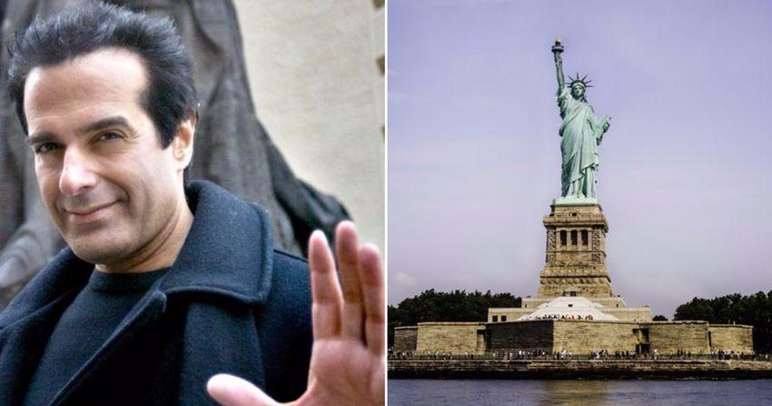 David Copperfield (left) and Statue of Liberty (right)