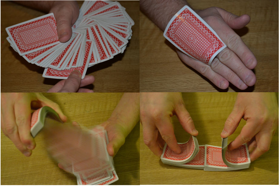 magician doing different card tricks