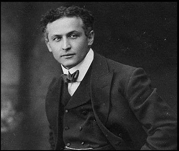 Harry Houdini in black and white portrait