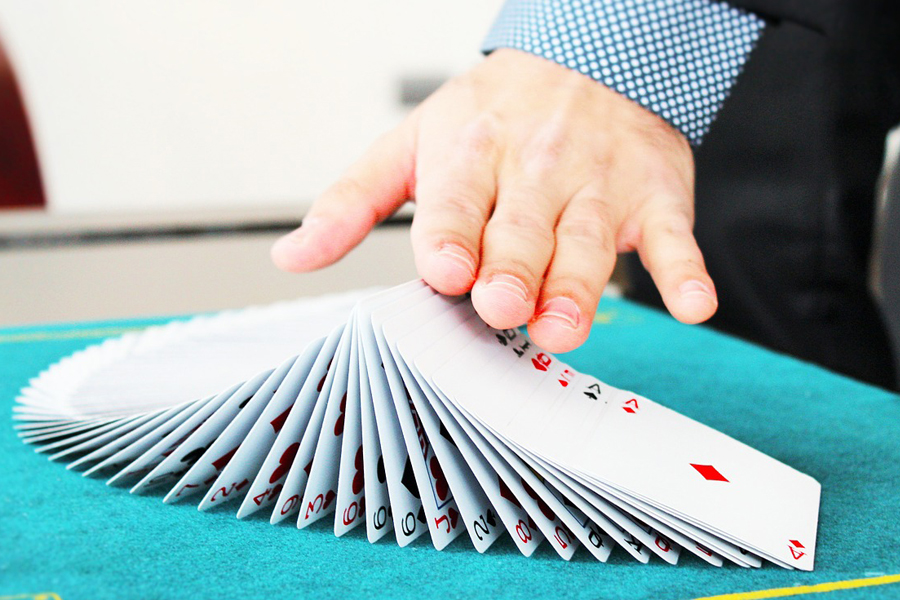 Cards shuffled in the table