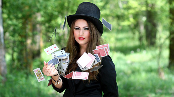 woman with cards
